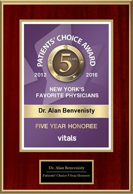 Patients' Choice Award New York's Best Favorite Physicians Dr. Alan Benvenisty Five year honoree